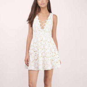 TOBI Nude White Lace Skater Dress